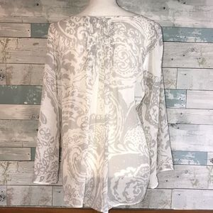 CAbi Tops - Cabi sheer grey white keyhole blouse          0184